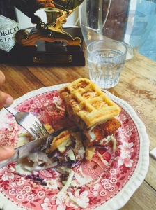 Chicken Waffle Burger (the part that wasn't inhaled)